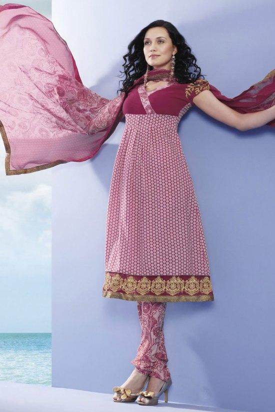 Churidar Kameez in Deep Pink Color