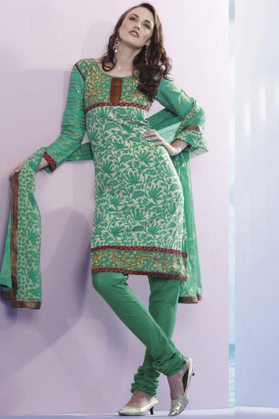 Persian Green Churidar Salwar Kameez