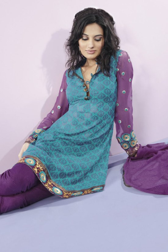 Bondi Blue Shalwar Kameez with churidar