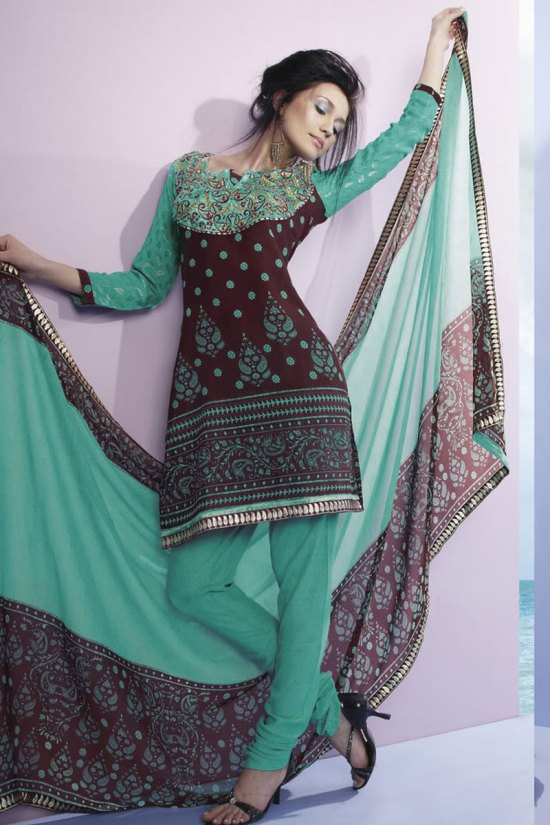 Churidar Kameez in Coffee Brown Color