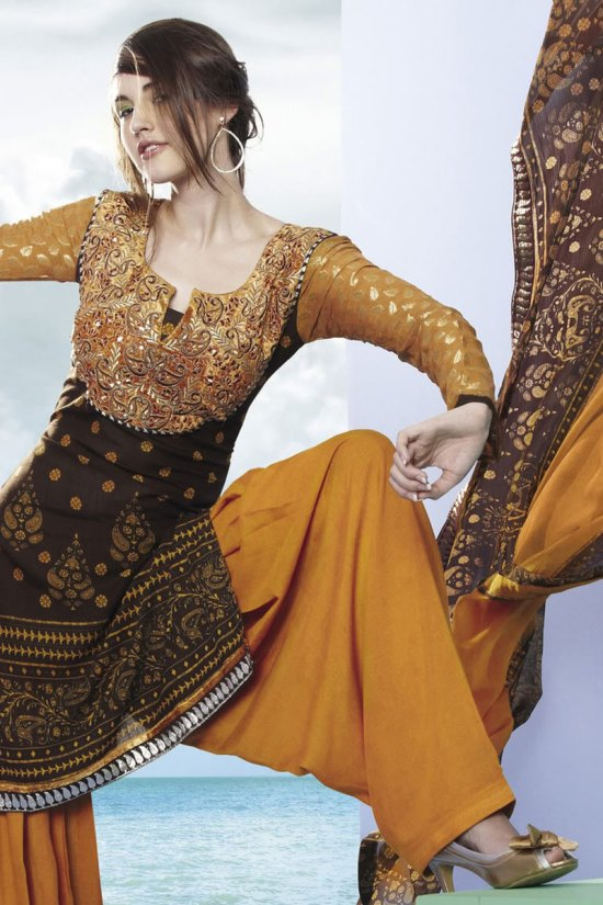 Patiala Salwar Kameez in Brown and Deep yellow Color