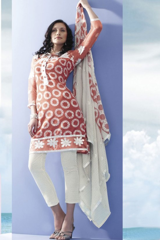 Salmon Orange Shalwar Kameez 2010