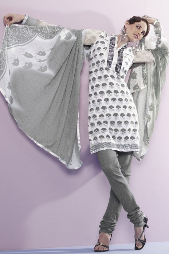 White and Gray party Salwar kameez 2010