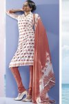 Faux Georgette Shalwar Kameez in White and Orange color