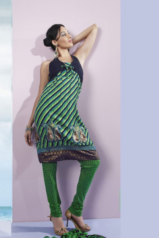Green Salwar Kameez in Faux Georgette Color