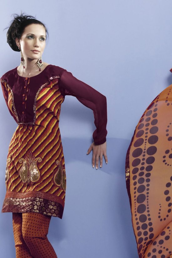 Brown Embroidered Shalwar Kameez