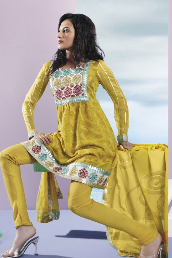 Pear Green Churidar Kameez 2010