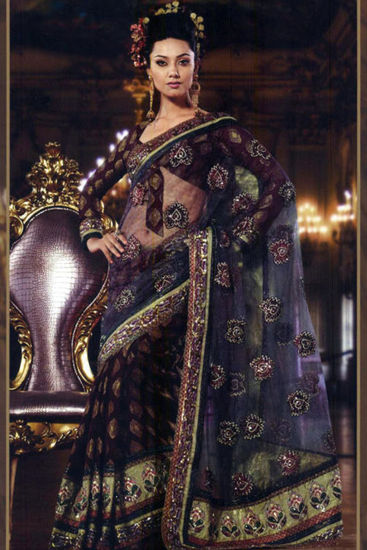 Embroidered Saree with heavy border