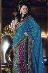 Blue lehenga style saree on sale