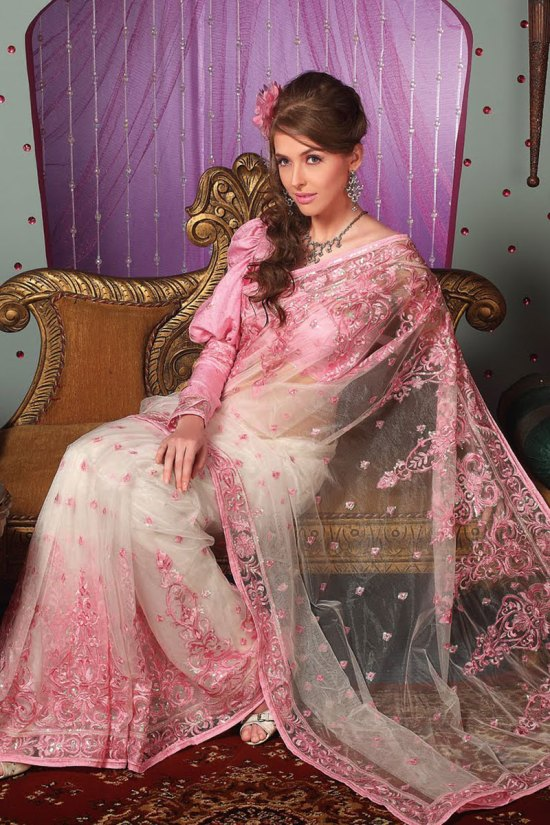 Latest Embroidered Saree in White and Salmon Pink Color