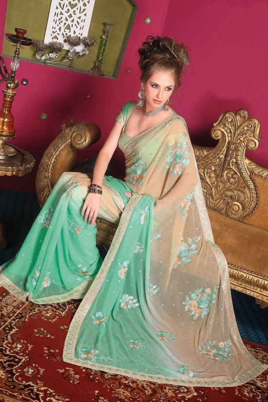 Latest Designer Saree in Green Color