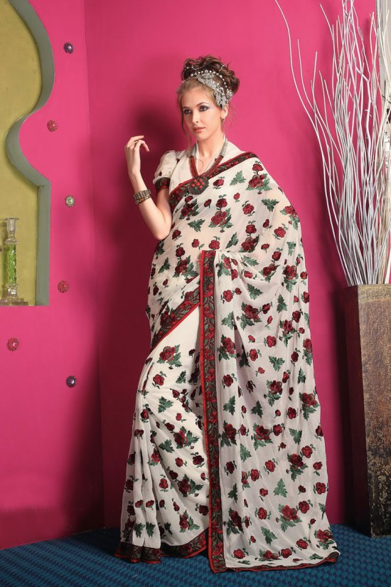Latest Embroidered Party Saree