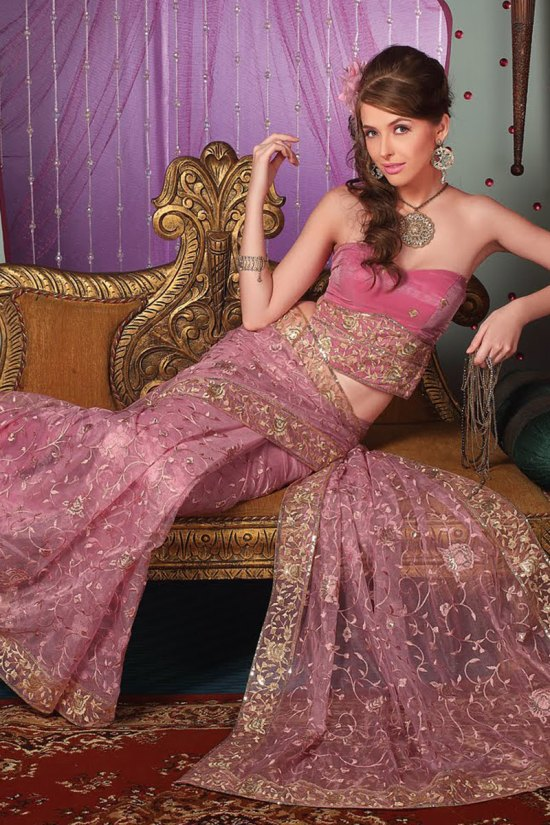 Latest Embroidered Puce Pink Net Party Saree