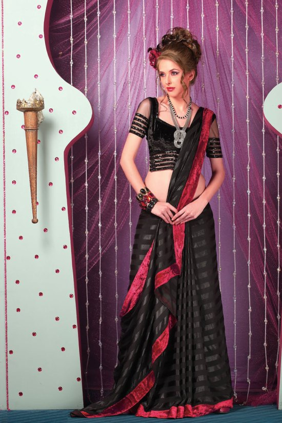 New Arrival Embroidered Saree in Black Color