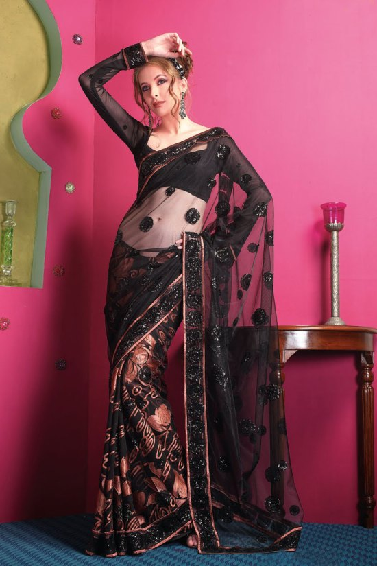 Newly Arrived Designer Net Sarees in Black Color