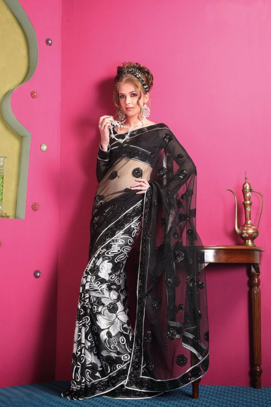 Stunning Black Net Designer Saree Collection 2010