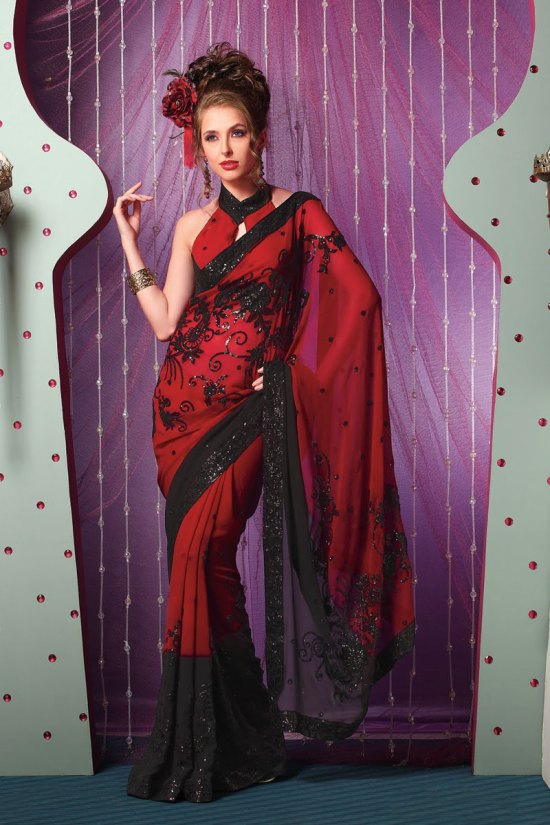 Latest Georgette Embroidered Party Saree