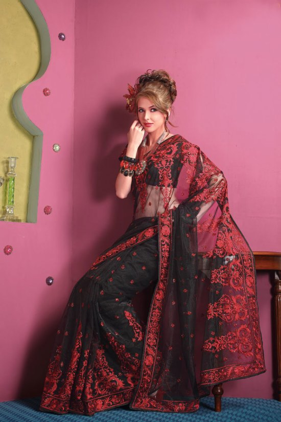 Latest Red and Black Party Saree