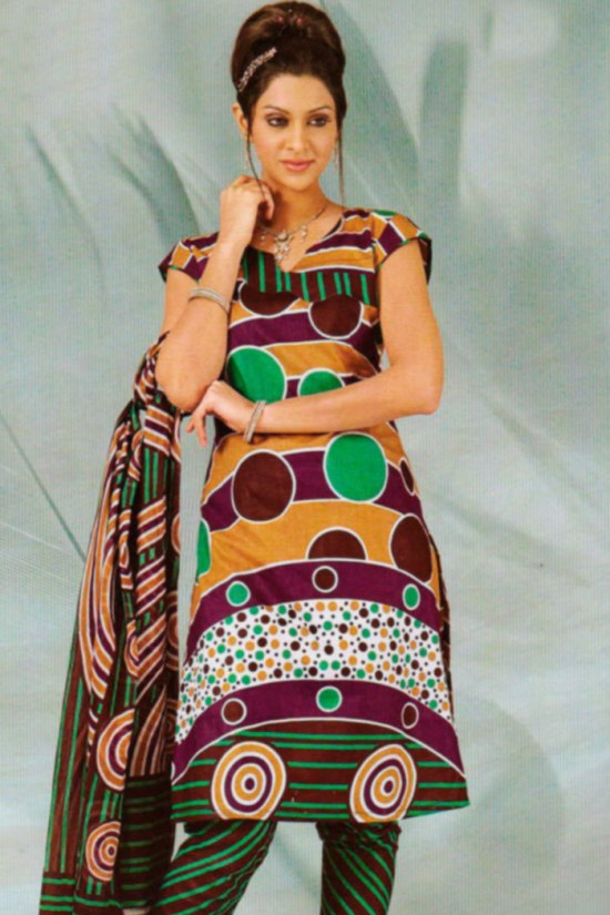 Cheap Salwar Kameez in Cotton Printed Fabric