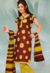 Maroon and Yellow Printed Cheap Cotton Salwar Kameez
