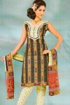 Deep Olive Green Printed Casual Cotton Salwar Kameez