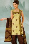 Light Green and Brown Casual Cotton Salwar Kameez