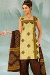 Light Green and Brown Casual Cotton Salwar Kameez