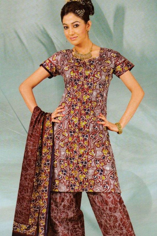 Casual Salwar Kameez in Cordovan Brown Color