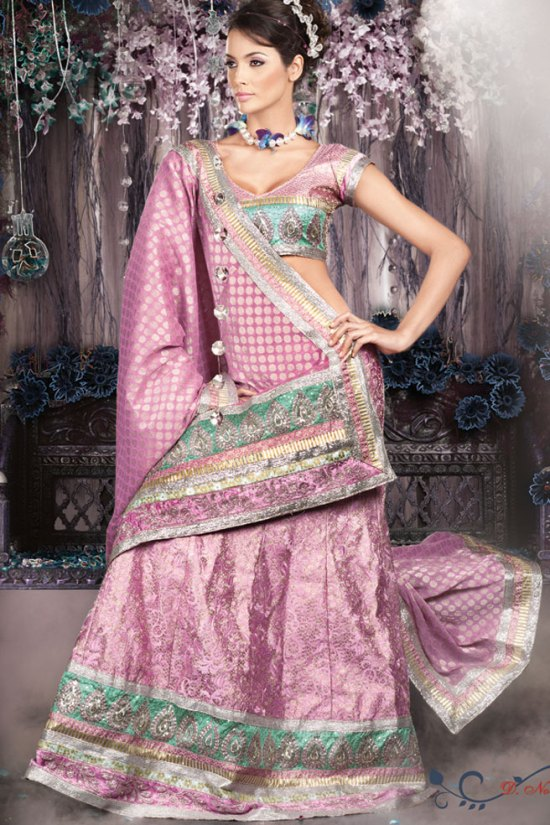 Brocade Pink Wedding Lehenga Choli