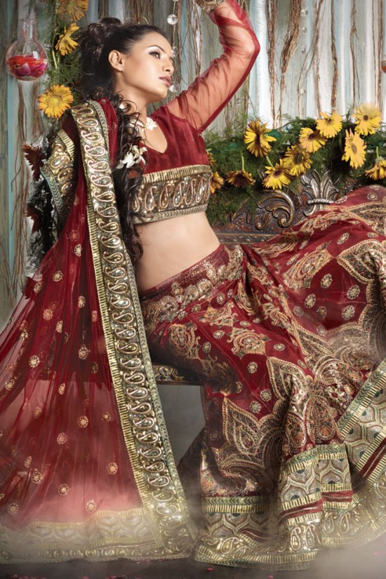 Net Burgundy Wedding Lehenga Choli 2010