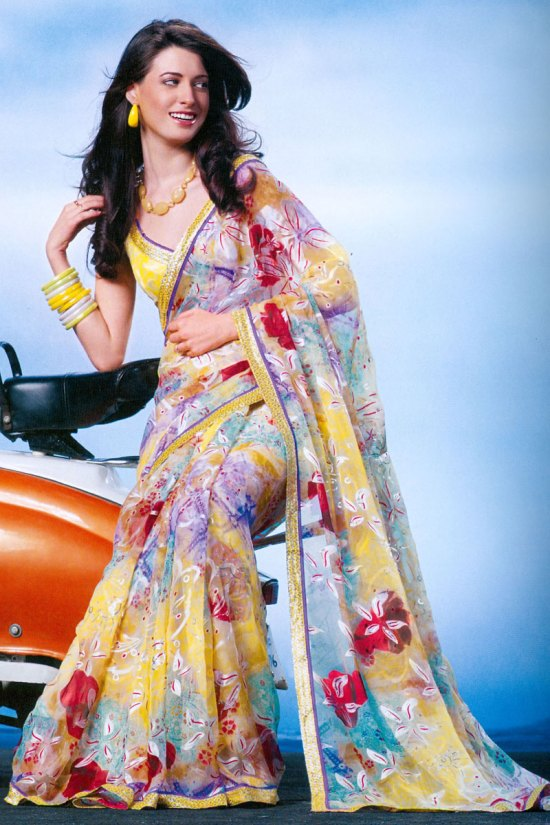 Newly Arrived Lemon Yellow Printed Saree Collection