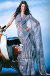 Latest Slate Gray Printed Saree 2010