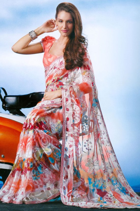 Coral Pink Digital Printed Saree