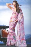 Latest Pink Floral Printed Saree 2010