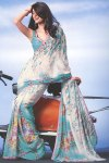 White and Blue Faux Georgette Printed Saree 2010