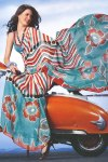 Latest Printed Party Wear Saree in Blue and Red Color