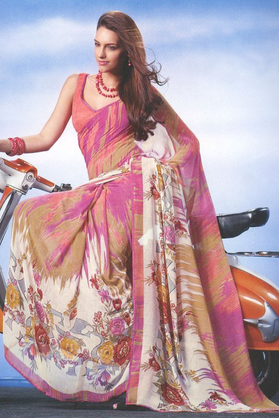 Salmon Pink Digital Printed Saree