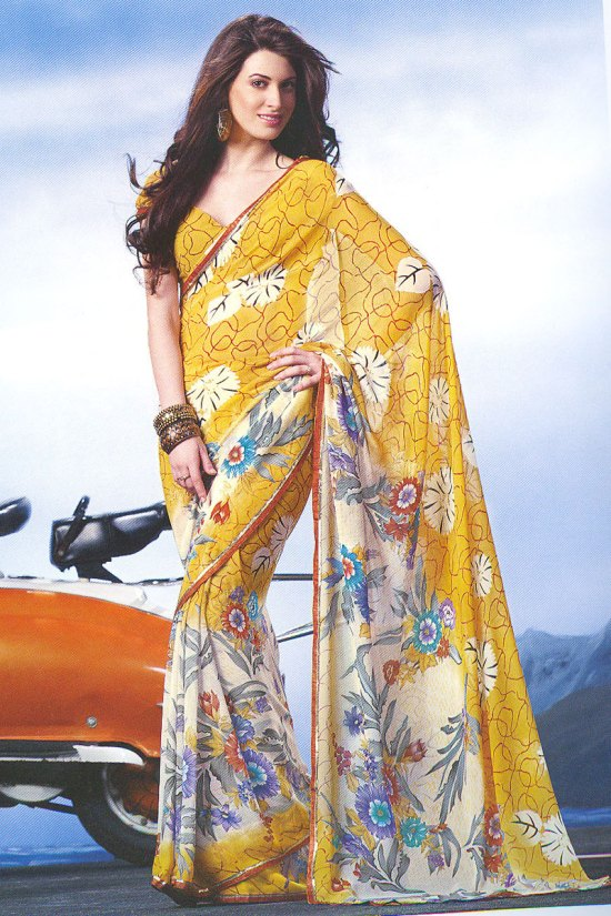 Yellow Faux Georgette Digital Printed Saree