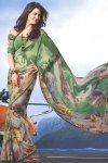 Green Faux Georgette Digital Printed Saree