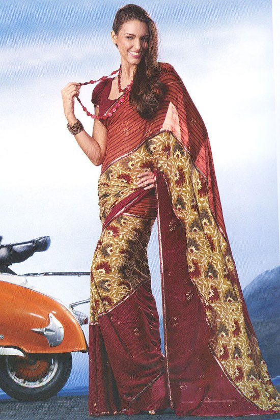 Brown Faux Georgette Abstract Digital Printed Saree