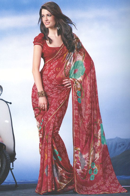 Cardinal Red Floral Printed Saree
