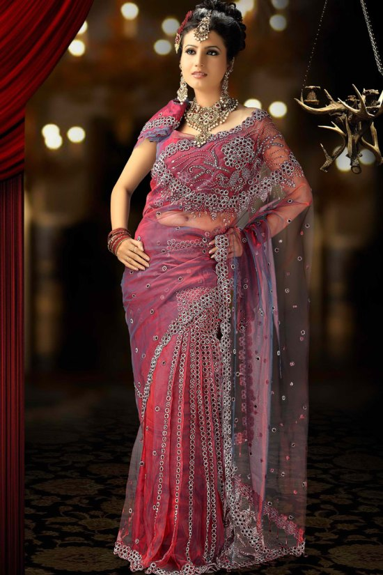 Latest Net Saree in Brick Pink Color 2010