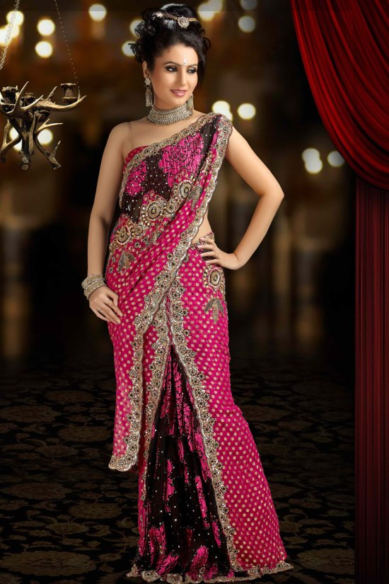 Latest Georgette and Net Pink Saree