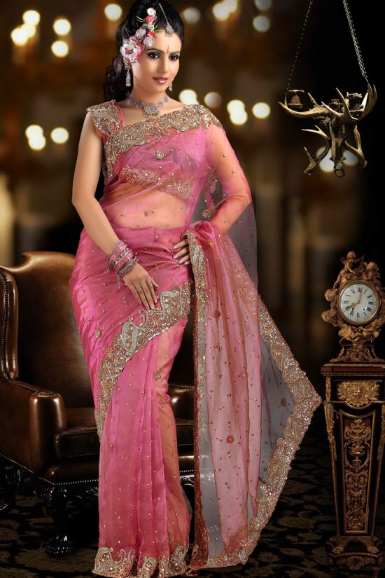 Pink Net Party wear Saree, fresh design