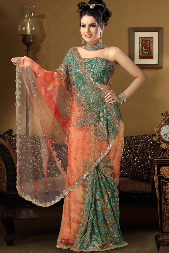 Newly Arrived Orange and Green Net Sarees Collection 2010
