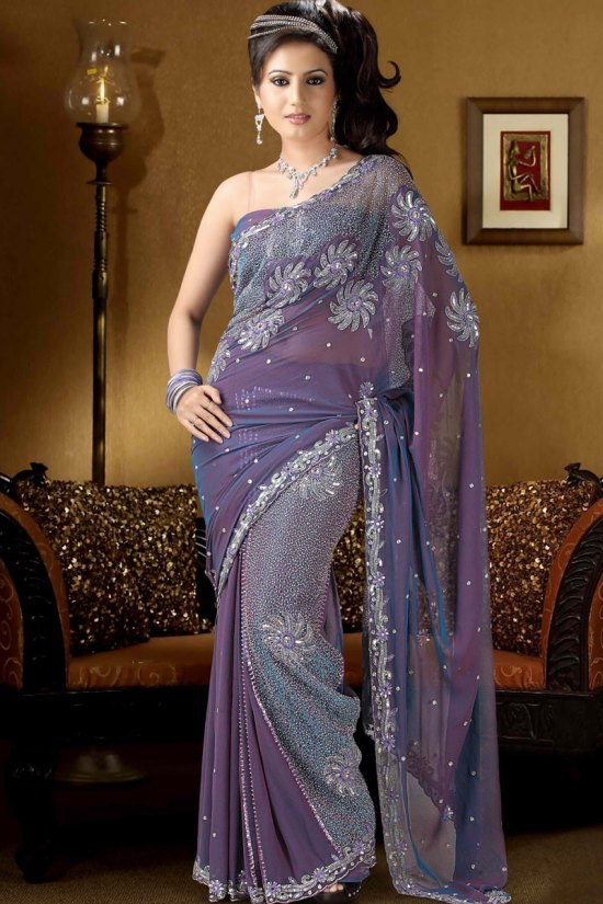 Georgette Saree in Dark Periwinkle Color