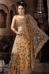 Brown Net Wedding Saree 2010