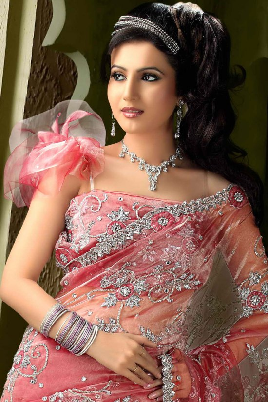 Salmon Pink Pure Net Wedding Wear Saree Collection