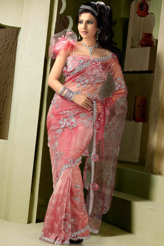 Net Saree in Salmon Pink Color for 2010 Season