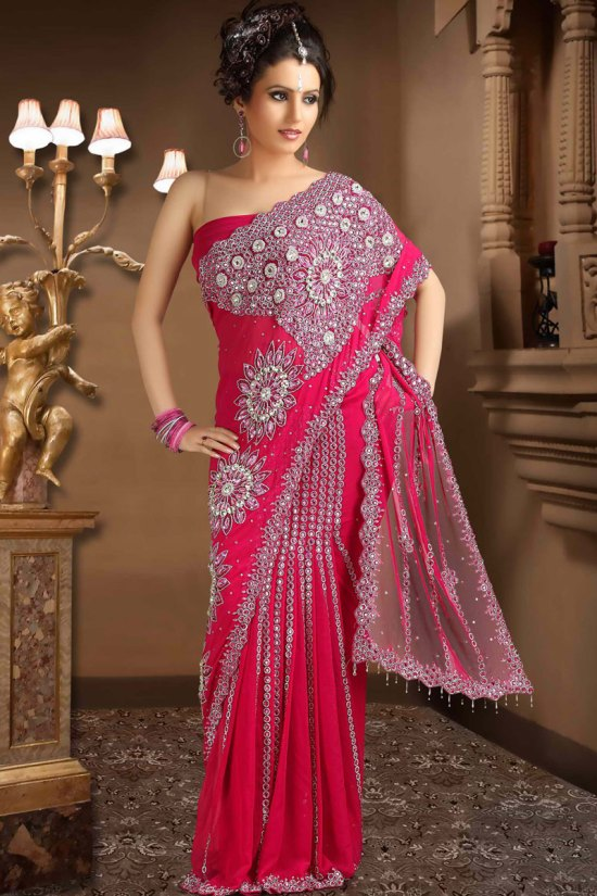 Latest Net Rose Pink Saree for Party Wear